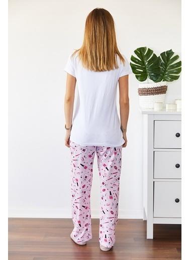 XHAN Baskılı Pijama Takımı  Beyaz